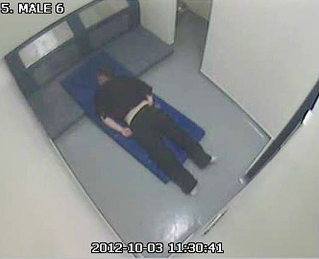 Thomas Orchard in a cell at Heavitree Road police station