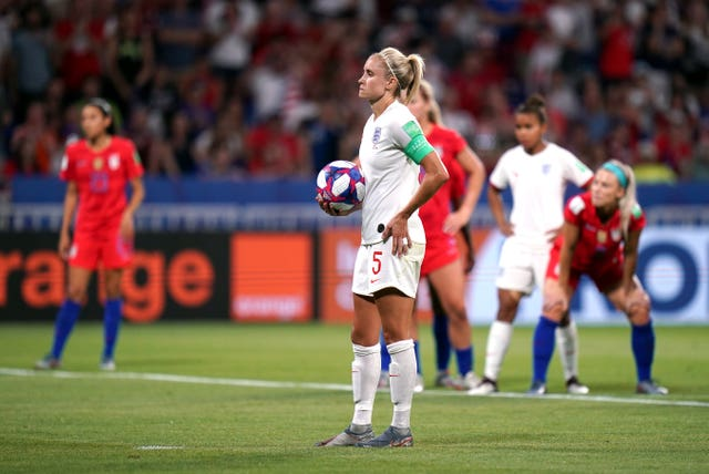 England captain Steph Houghton waiting to taking the penalty in the 84th minute