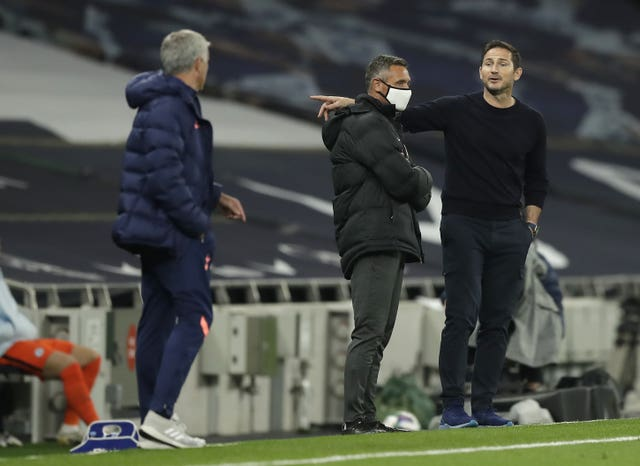 Chelsea manager Frank Lampard (right) had a heated exchange with his former boss