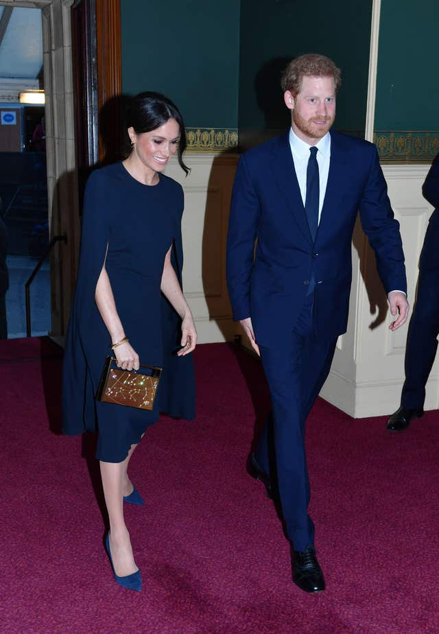 Prince Harry and Meghan Markle arrive at the Royal Albert Hall (John Stillwell/PA)