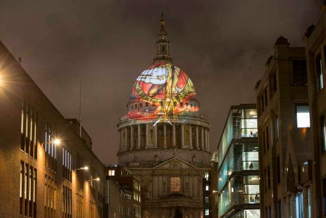 William Blake's final masterpiece 'The Ancient Of Days' is projected onto the dome of St Paul's Cathedral