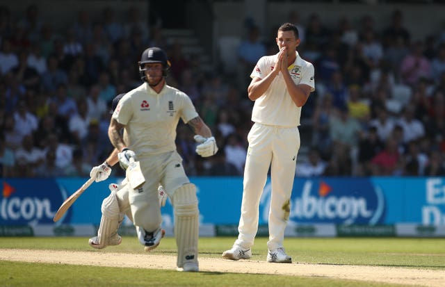Australia's Josh Hazlewood looks on as England make runs at Headingley