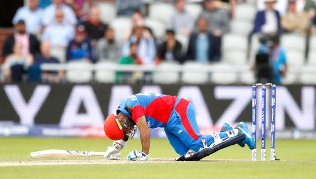Hashmatullah batted on after being floored by Mark Wood.