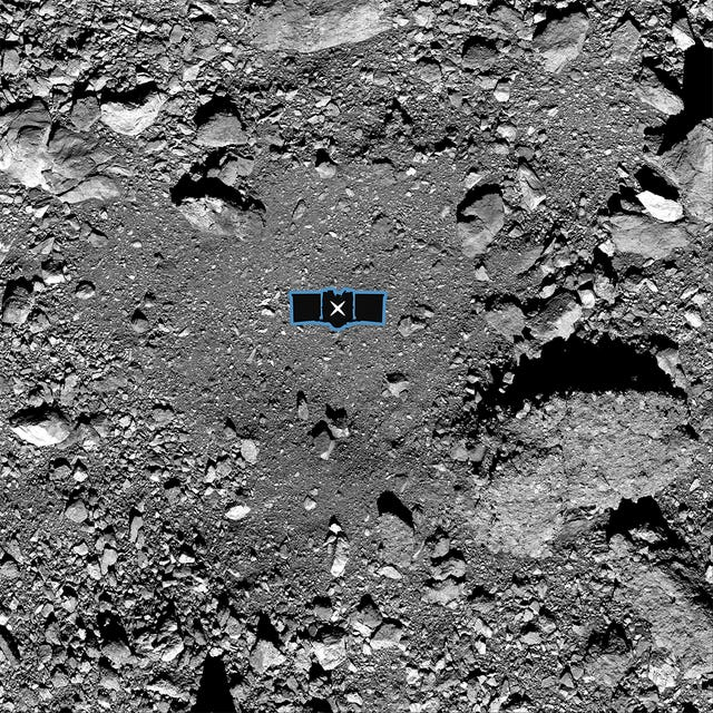 The Osiris-Rex spacecraft's primary sample collection site, named Nightingale, on the asteroid Bennu