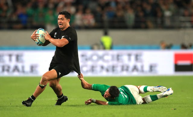 A desperate tackle on New Zealand's Anton Lienert-Brown