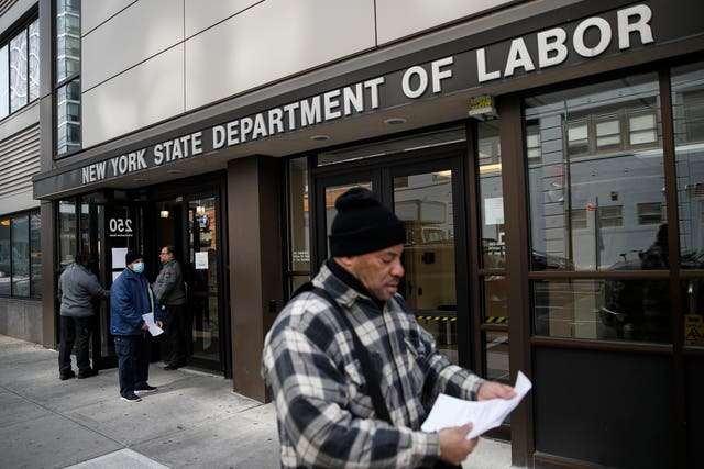 Visitors to the Department of Labour are turned away at the door by personnel due to closures over coronavirus concerns  in New York