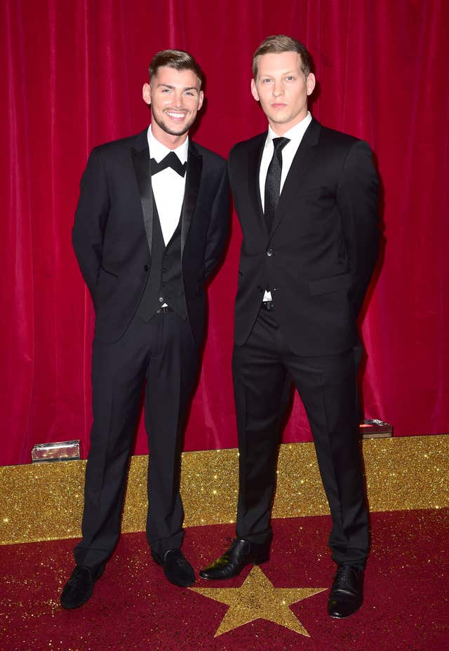 Kieron Richardson (left) and James Sutton at the British Soap Awards in 2015