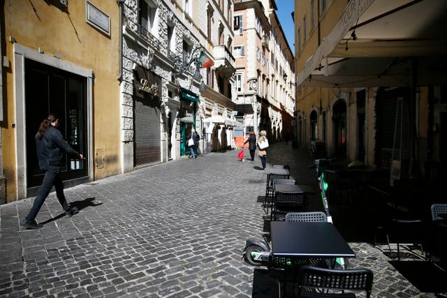 An almost empty street in Rome city centre