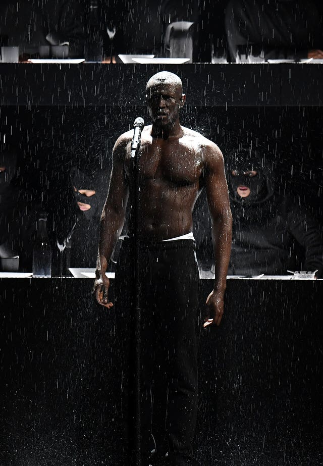 Stormzy performs on stage during the Brits (Victoria Jones/PA)