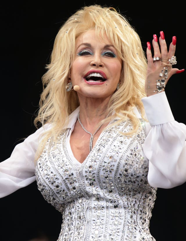 Dolly Parton performing on the Pyramid Stage at Glastonbury