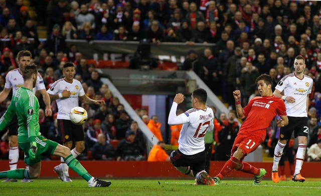 Roberto Firmino, second right, fires Liverpool towards victory over Manchester United in 2016