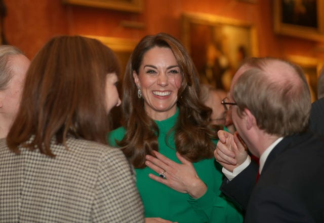 The Duchess of Cambridge during the reception in Buckingham Palace as Nato leaders gather to mark 70 years of the alliance