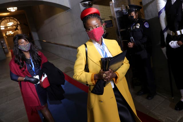 National youth poet laureate Amanda Gorman arrives at the inauguration of Joe Biden on the West Front of the US Capitol in Washington