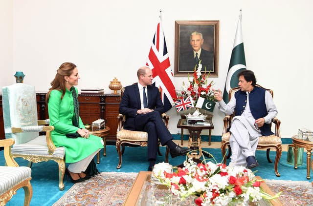 The Duke and Duchess of Cambridge with the Prime Minister of Pakistan Imran Khan at his official residence in Islamabad