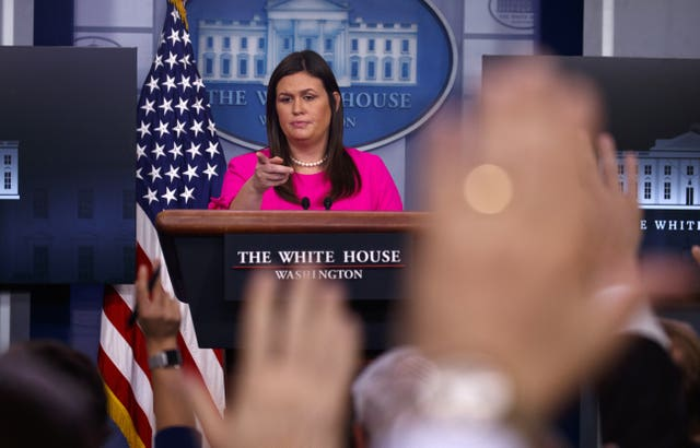 Sarah Huckabee Sanders addresses the press at the White House