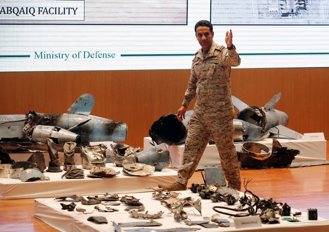 The Saudi military displays what it says are Iranian weapons used to target its oil facilities