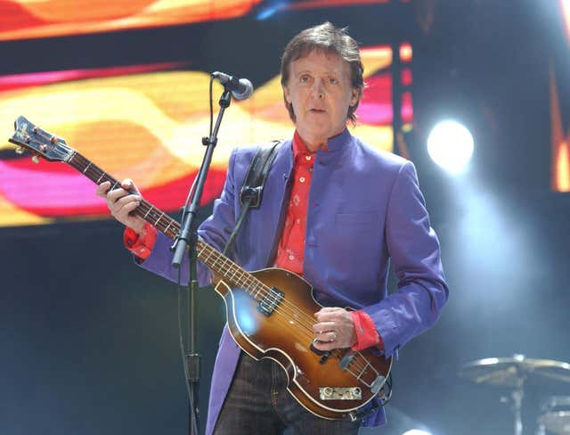 Sir Paul McCartney on stage during the Glastonbury Festival in 2004