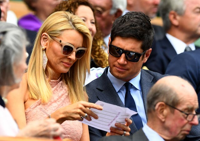 TV presenters Tess Daly and Vernon Kay