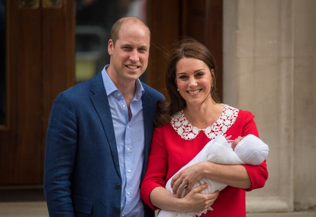 Proud parents William and Kate and their newborn son (Dominic Lipinski/PA)