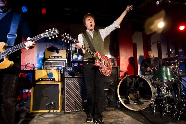 Sir Paul McCartney during a lunchtime show at London's famous 100 Club
