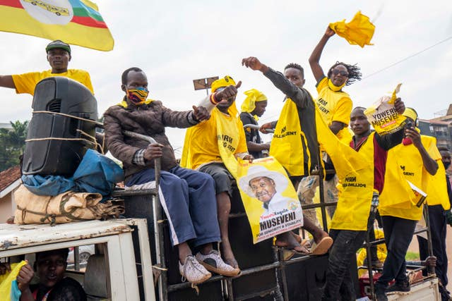Supporters of Ugandan President Yoweri Kaguta Museveni celebrate (Jerome Delay/AP)