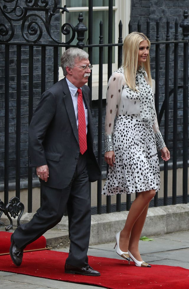 John Bolton and Ivanka Trump leave 10 Downing Street during Donald Trump's state visit (Yui Mok/PA)