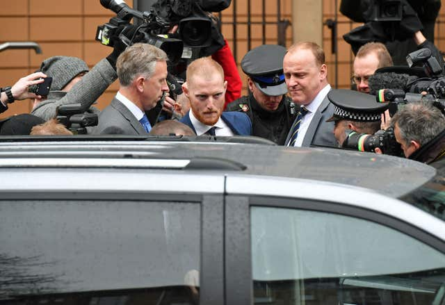 Ben Stokes leaving Bristol Magistrates' Court