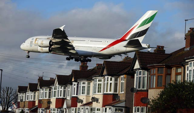 Planes landing at Heathrow Airport