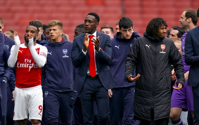 Danny Welbeck, centre, is also leaving Arsenal in the summer