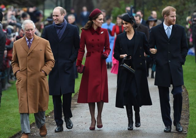 Meghan and the royal family at Christmas Day church