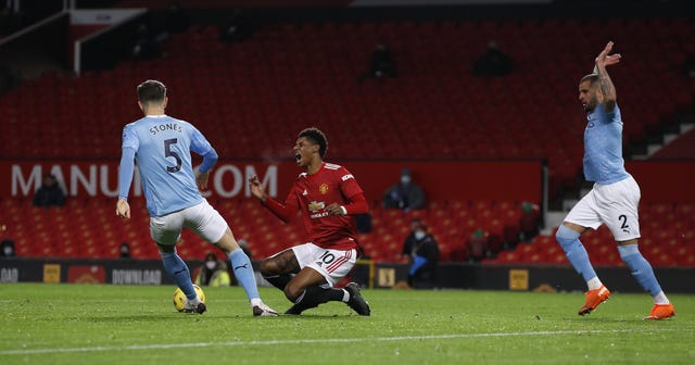 Marcus Rashford was fouled by Kyle Walker in the box - but VAR showed the Manchester United forward was offside