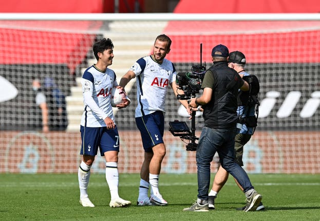 It was a day to remember for Tottenham's Son Heung-min, left, at Southampton after he scored four times, with all four assisted by Harry Kane, who grabbed the other goal in Spurs' 5-2 success