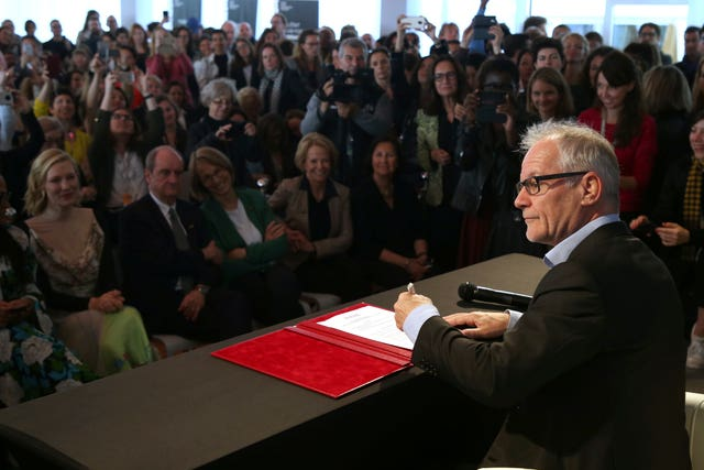 Cannes Film Festival Director Thierry Fremaux signs the 50/50 2020 Gender Equality Pledge (AP)