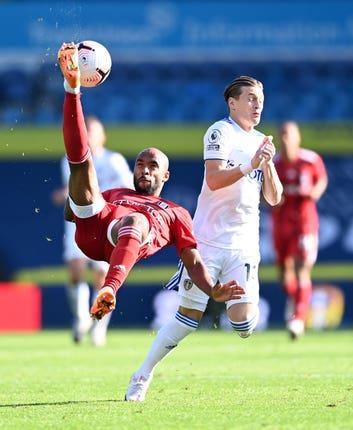 Fulham's Denis Odoi pulls off an overhead kick at Elland Road