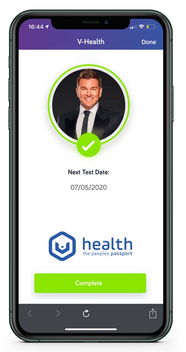 An example of what the digital health passport would like on a mobile phone