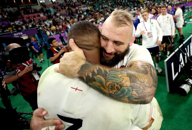 Kyle Sinckler (left) hugs Joe Marler at the end of the 2019 Rugby World Cup quarter-final match