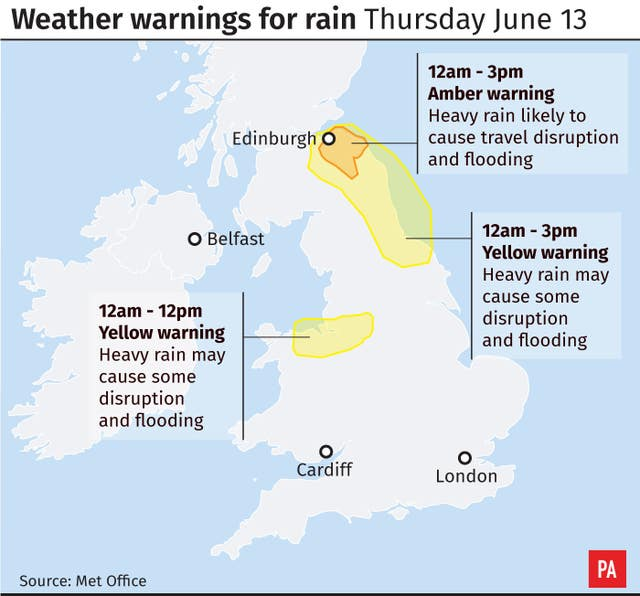 Weather warnings for rain Thursday June 13