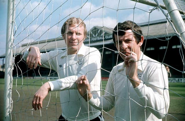 Alan Mullery with Bobby Moore at Fulham's Craven Cottage ground in 1975