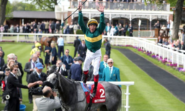 Frankie Dettori treats the crowd after Coronet's win
