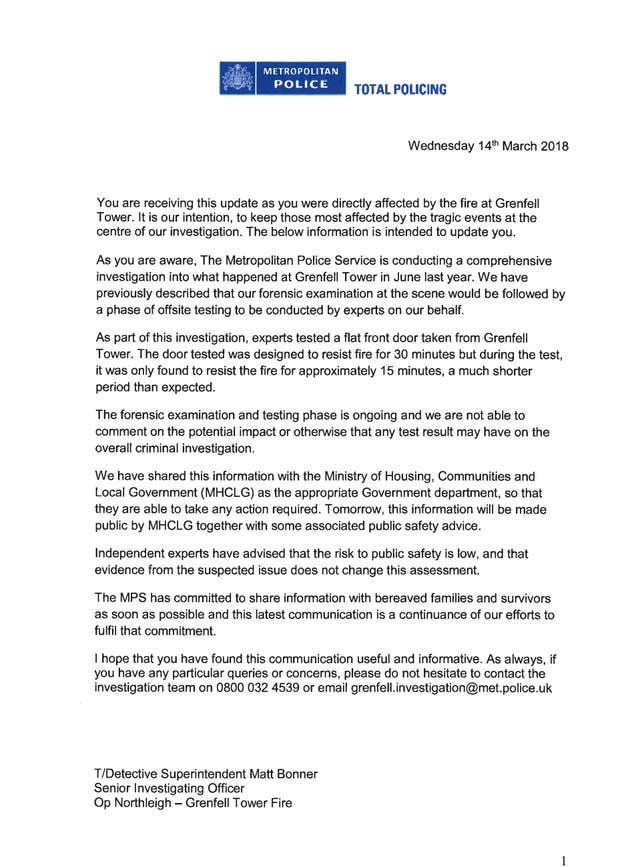 The letter sent to Grenfell families from the Metropolitan Police (Handout/PA)