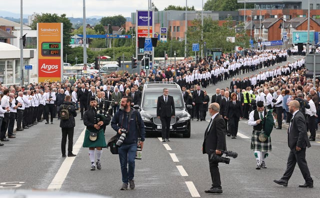 The funeral procession in west Belfast