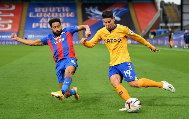 James Rodriguez, right, was involved in both of Everton's goals at Crystal Palace