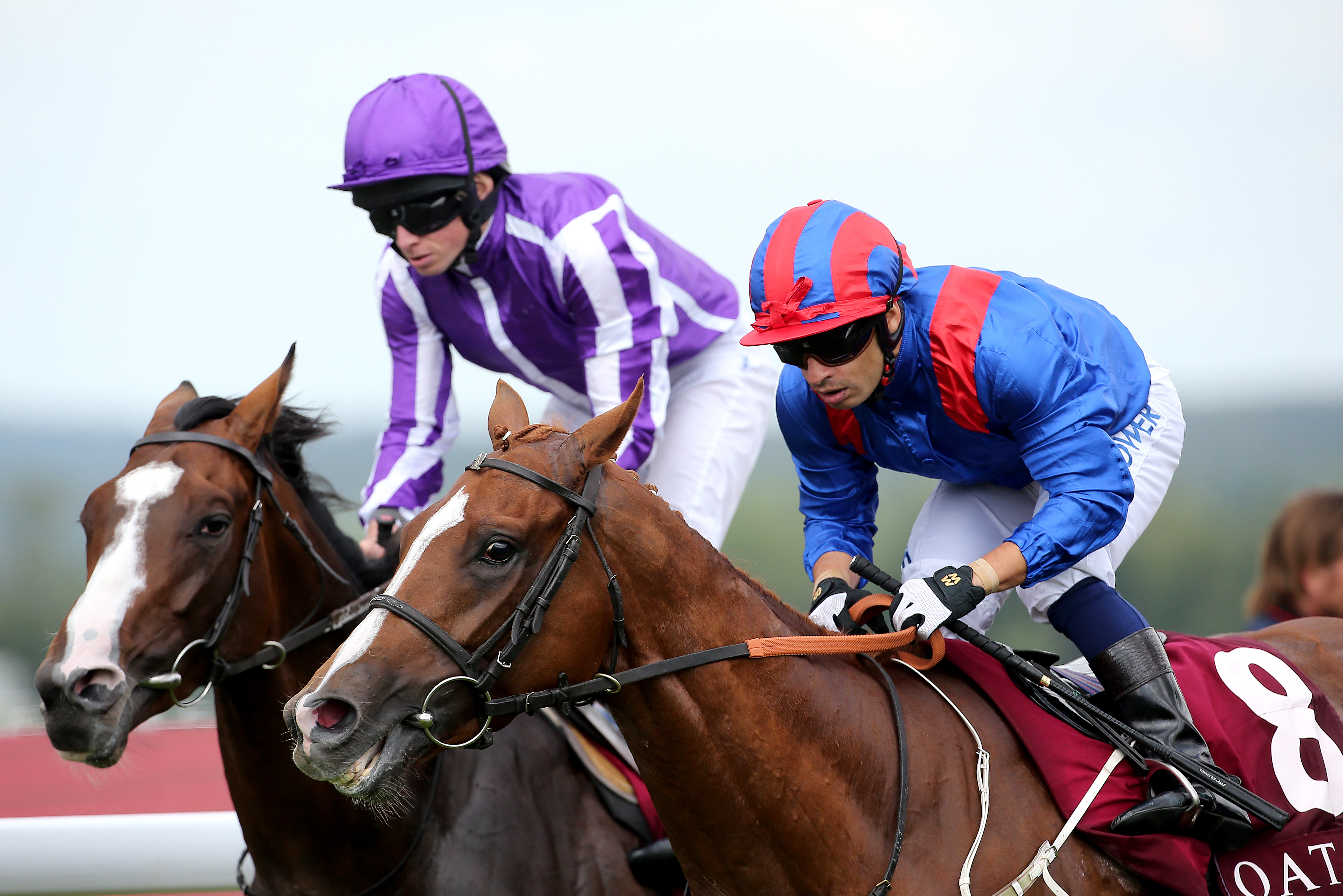 Nayef Road, blue and red silks, could make an appearance in France before the season is out (Mark Kerton/PA Images)