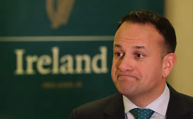 Taoiseach Leo Varadkar speaking to the media at the US Chamber of commerce in Washington DC (Niall Carson/PA)