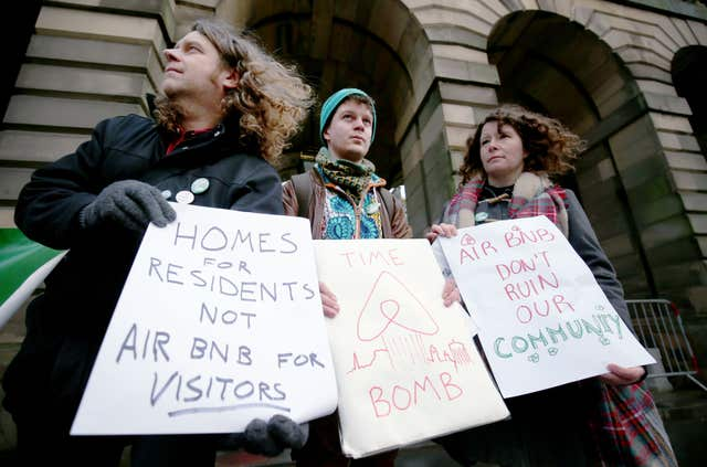 Living Rent says the rise of Airbnb in Edinburgh has pushed up rents (Jane Barlow/PA)