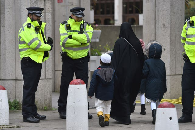 Worshippers arrive for midday prayers at the London Central Mosque, near Regent's Park (Kirsty O'Connor/PA)