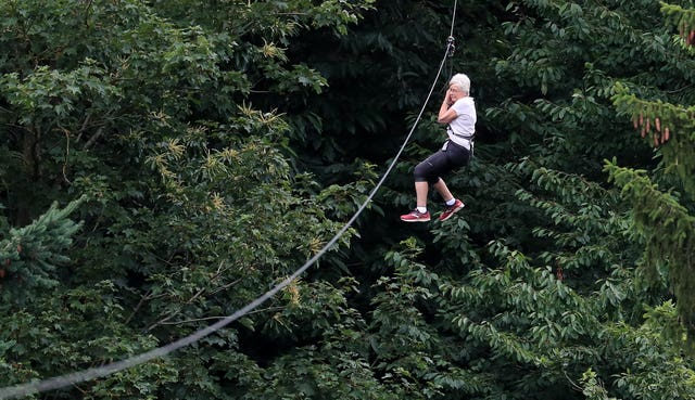 84-year-old zip wires down Leeds Castle
