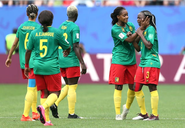 Cameroon's players appear dejected after VAR rules out their goal