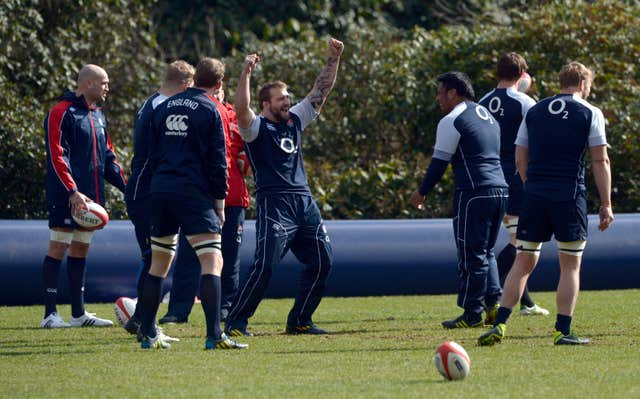 Marler jokes with team-mate Mako Vunipola during training