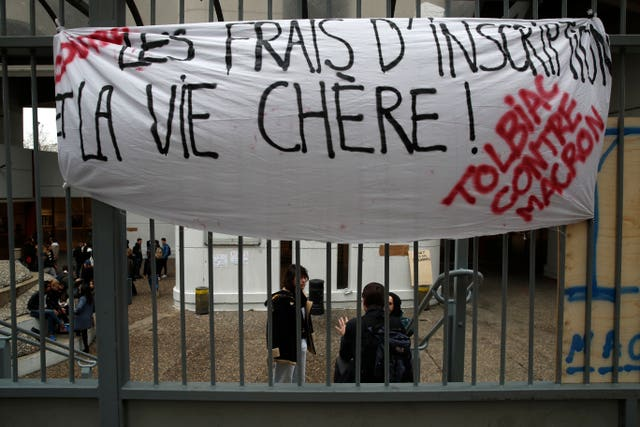 Students protest at Tobiac university in Paris